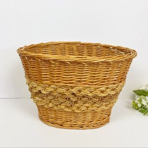 Golden Honey Braided Woven Wicker Basket